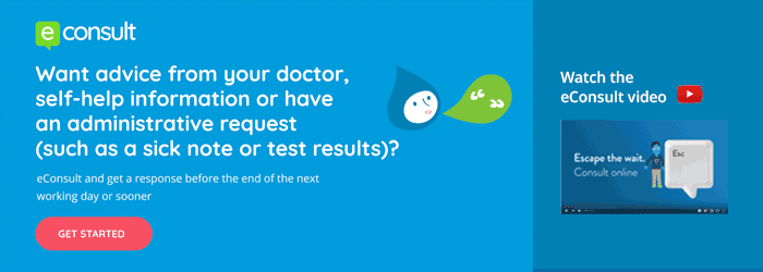 eConsult banner reads: contact your doctors online and get a response by the end of the next working day